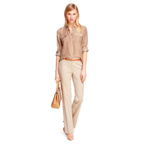 Brooks Brothers Lucia Fit Camel Trousers Mid Rise Straight Leg 8